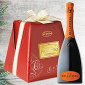 CHRISTMAS GREETINGS PACK: Pandoro Premium Carta e Fiocco - Bellavista Alma Cuvée Brut Franciacorta