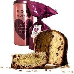 Grappolone Panettone with raisins and grappa cream with Poli brand Moscato Grappa